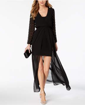 Betsy & Adam Embellished-Sleeve High-Low Dress