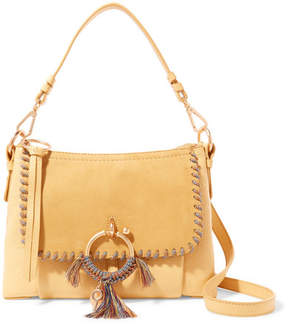 See by Chloe Joan Small Whipstitched Suede-paneled Textured-leather Shoulder Bag - Yellow
