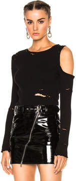 Amiri One Shoulder Long Sleeve Rib Top