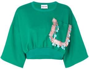 Au Jour Le Jour cropped embroidered pocket sweatshirt