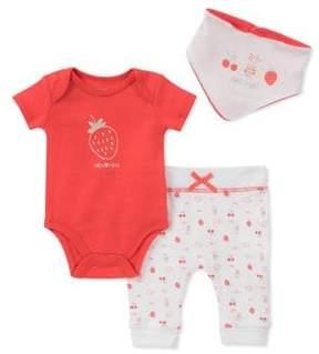 Absorba Baby Girl's Three-Piece Cotton Strawberry-Print Bodysuit, Pants and Bib Set