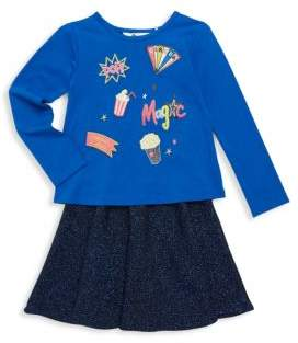 Petit Lem Little Girl's Two-Piece Carnival Top & Skirt Set