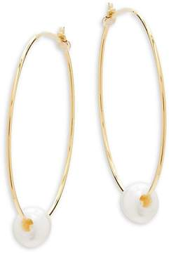 Chan Luu Women's Cultured Pearl and Sterling Silver Hoop Earrings