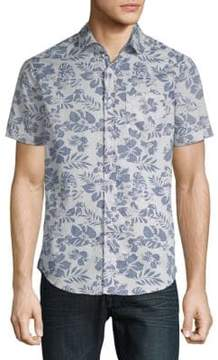 Report Collection Tropical Cotton Button-Down Shirt