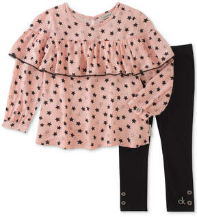 Calvin Klein 2-Pc. Star-Print Tunic & Leggings Set, Little Girls (4-6X)