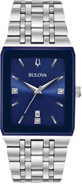 Bulova Men's Diamond-Accent Stainless Steel Bracelet Watch 31x45mm, a Macy's Exclusive Style