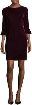 Donna Morgan Women's Three-Quarter Bell Sleeve Velvet Sheath Dress