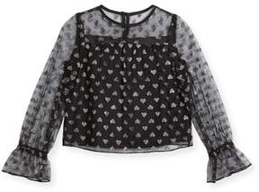 Milly Minis Leila Metallic Hearts Tulle Blouse, Size 4-7