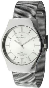Peugeot Mens Silver-Tone Mesh Watch