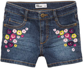 Epic Threads Floral-Embroidered Denim Shorts, Little Girls, Created for Macy's