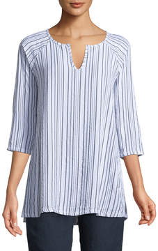 Allen Allen 3/4-Sleeve Striped Keyhole-Neck Tunic