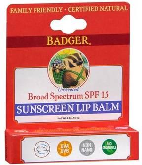 Badger Sunscreen Lip Balm SPF 15 Unscented