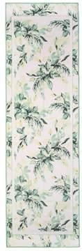 St. John | Painted Leaves Print Crinkle Silk Georgette Scarf
