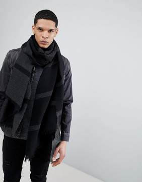 Asos DESIGN Blanket Scarf In Black & Gray Plisse