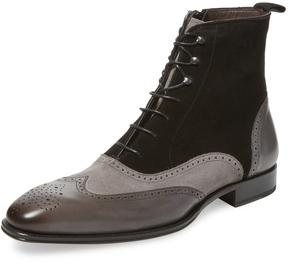 Mezlan Men's Narrow-Toe Broguing Leather Boot