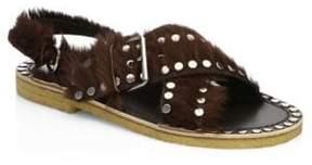 Prada Studded Pony Hair Crisscross Sandals