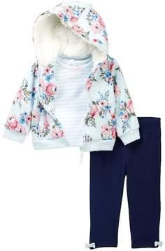 Little Me Faux Shearling Floral Hoodie, Striped Shirt, & Leggings Set (Baby Girls)