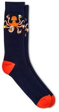 Merona Men's Novelty Crew Socks Octopus Navy 10-13