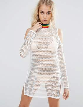 Jaded London Rainbow Tape Crochet Beach Caftan