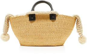 Muun Giorgio Leather-Trimmed Crochet-Knit And Straw Tote