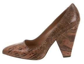 Alaia Lizard Pointed-Toe Pumps