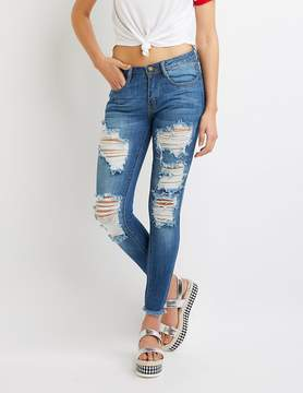 Charlotte Russe Machine Jeans Destroyed Mid-Rise Skinny Jeans