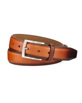 Neiman Marcus Hand-Burnished Leather Belt