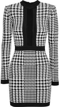 Balmain Houndstooth Mesh-trimmed Stretch-knit Mini Dress - Black