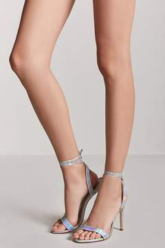 Forever 21 Iridescent Ankle-Wrap High Heels