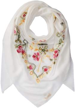 Collection XIIX Swirly Floral Embroidered Square Scarves