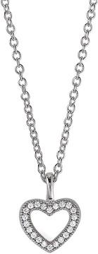 Crislu CZ Pave Open Heart Pendant Necklace