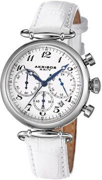 Akribos XXIV Akribos Chronograph White Dial White Leather Ladies Watch AK630SSW