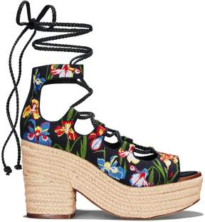 Tory Burch POSITANO?EMBROIDERED?LACE-UP PLATFORM ESPADRILLE