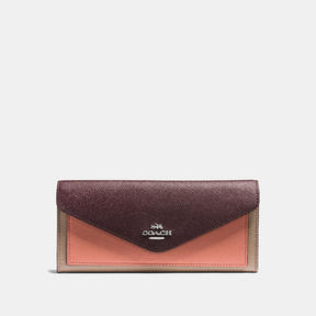 COACH Coach Soft Wallet In Colorblock - SILVER/STONE/MELON MULTI - STYLE