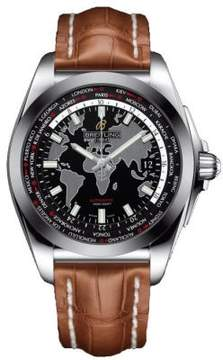 Breitling Galactic Unitime Black Dial Brown Leather Automatic Men's watch WB3510U4-BD94BRCT