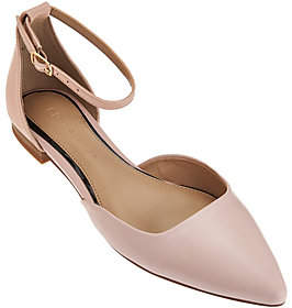 Halston H by Leather Flats with AdjustableStrap - Layla