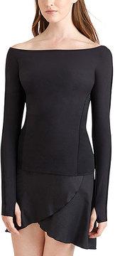 Capezio Black Long-Sleeve Off-Shoulder Top - Women
