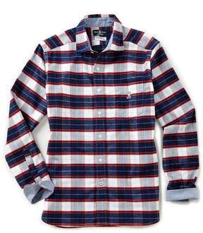 Psycho Bunny Plaid Brushed Flannel Long-Sleeve Woven Shirt