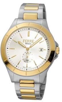 Ferré Milano Men's Swiss Made Swiss Quartz Two Toned Ss/ipyg Stainless Steel Bracelet Watch.