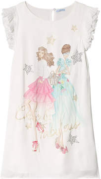 Mayoral White Girls Diamante Dress