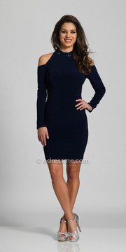 Dave and Johnny High Collar Cold Shoulder Long Sleeve Homecoming Dress