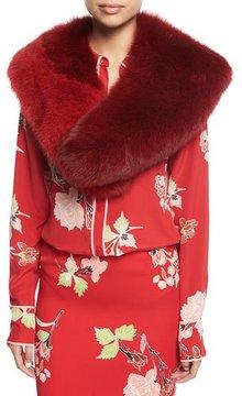 Diane von Furstenberg Bicolor Fox Fur Collar