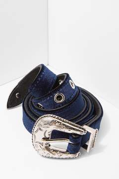 7 For All Mankind Baby Frank Velvet Belt In Navy And Silver