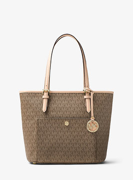 Michael Kors Jet Set Travel Medium Logo Tote - BROWN - STYLE
