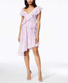 Bardot Dotted Ruffle One-Shoulder Dress