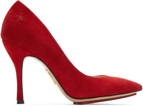 Charlotte Olympia Red Suede Bacall Heels