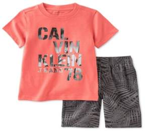 Calvin Klein Boys 2-Piece Palm Graphic T-Shirt Orange 2T - Toddler