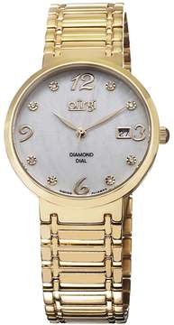 Burgi White Mother of Pearl Dial Gold-tone Ladies Watch