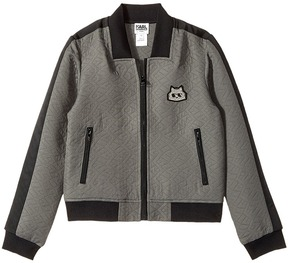 Karl Lagerfeld Jacquard Quilted Zip-Up Cardigan Girl's Sweater