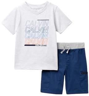 Calvin Klein Graphic Tee & Pull-On Shorts Set (Little Boys)